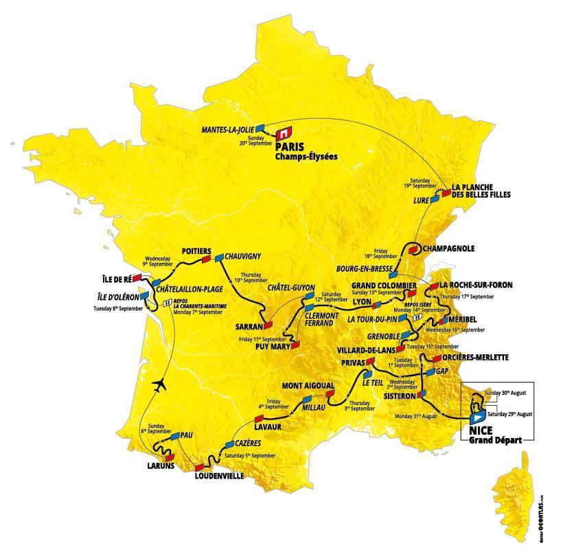 Etapy na Tour de France 2020
